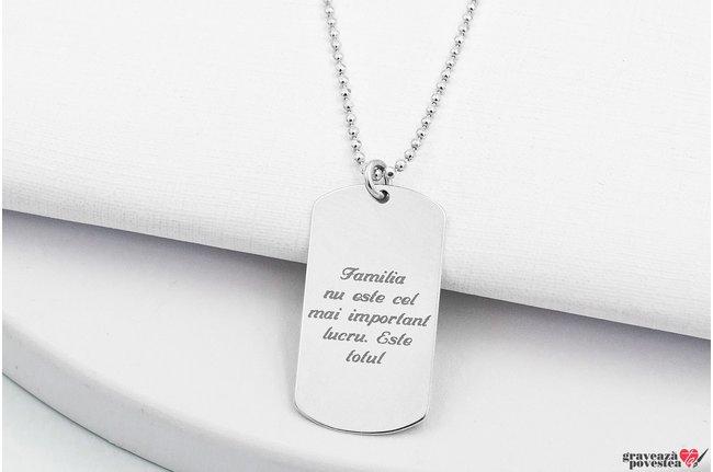 Colier placuta Army 28 mm personalizata gravura text Argint 925 rodiat (lant Beads)