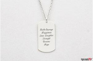 Colier placuta Army 28 mm personalizata gravura text Argint 925 rodiat (lant Cable)