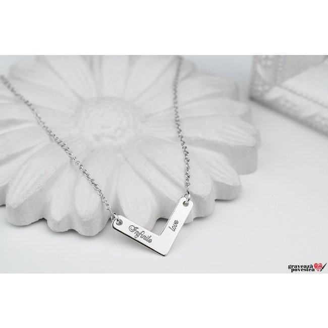 Colier v 21 mm personalizat gravura text Argint 925 rodiat