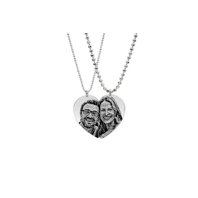 Coliere cuplu jumatati de inima 43 mm personalizate gravura foto Argint 925 rodiat (lant Army XL & Beads)