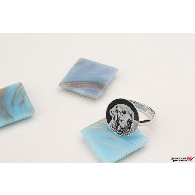 Inel banut 15 mm personalizat gravura foto Argint 925 rodiat