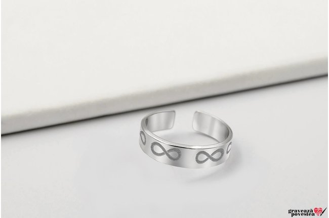 Inel tip verigheta 5 mm personalizat gravura text Argint 925 rodiat