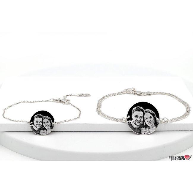 Bratari lant cuplu/ prietenie banut 22 mm & 17 mm personalizate gravura foto Argint 925 rodiat (lant Curbed & subtire)