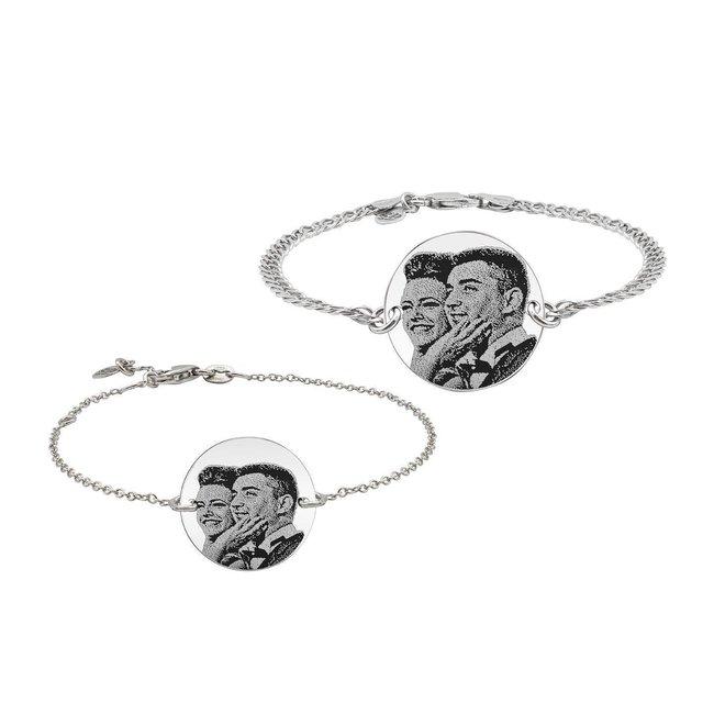 Bratari lant cuplu banut 22 mm & 17 mm personalizate gravura foto Argint 925 rodiat (lant Curbed & subtire)