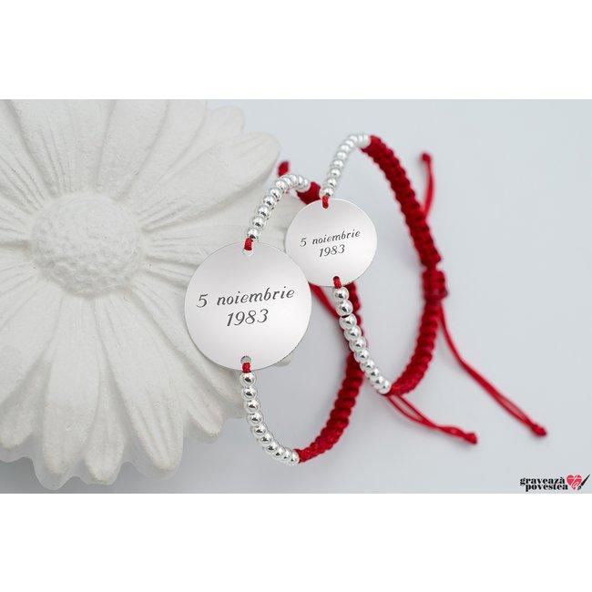 Bratari snur impletit si bilute cuplu/ prietenie banut 22 mm & 17 mm personalizate gravura text Argint 925 rodiat