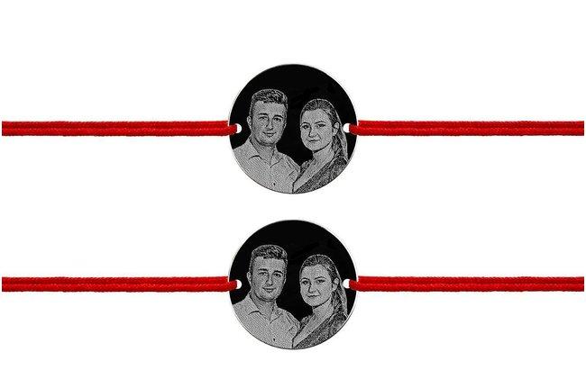Bratari snur cuplu/ prietenie banut 17 mm personalizate gravura foto Argint 925 rodiat
