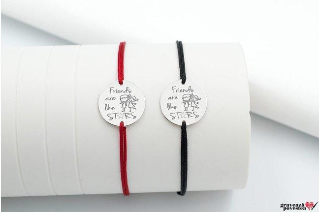 Bratari snur cuplu/ prietenie banut 17 mm personalizate gravura text Argint 925 rodiat