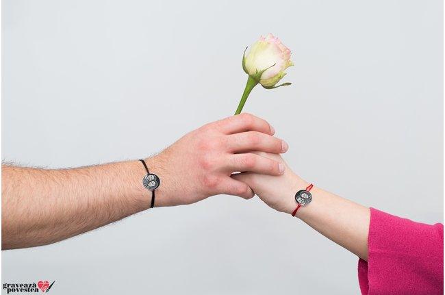 Bratari snur cuplu/ prietenie banut 19 mm personalizate gravura foto Argint 925 rodiat