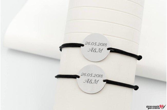 Bratari snur cuplu/ prietenie banut 19 mm personalizate gravura text Argint 925 rodiat