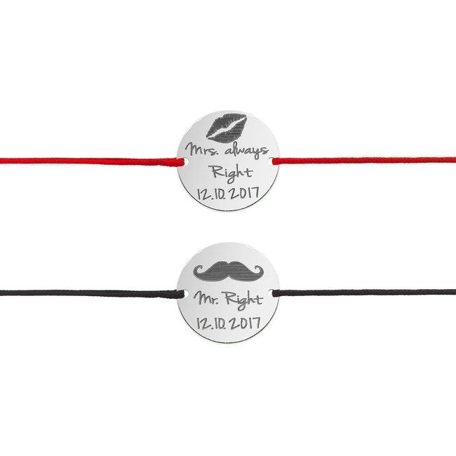 Bratari snur cuplu banut 19 mm personalizate gravura text Argint 925 rodiat