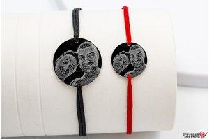 Bratari snur cuplu/ prietenie banut 22 mm & 17 mm personalizate gravura foto Argint 925 rodiat