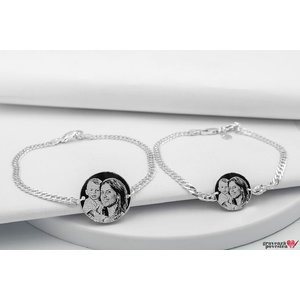 Bratari lant cuplu banut 22 mm & 17 mm personalizate gravura foto Argint 925 rodiat (lant Curbed)