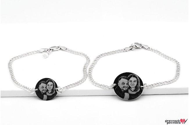 Bratari lant cuplu/ prietenie banut 22 mm & 17 mm personalizate gravura foto Argint 925 rodiat (lant Curbed)