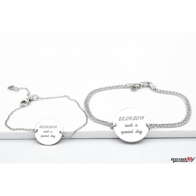 Bratari lant cuplu/ prietenie banut 22 mm & 17 mm personalizate gravura text Argint 925 rodiat (lant Curbed & subtire)