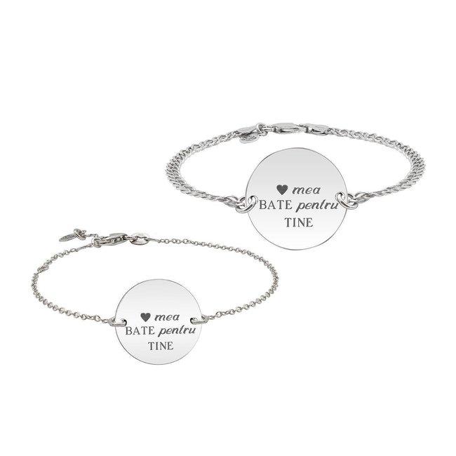 Bratari lant cuplu banut 22 mm & 17 mm personalizate gravura text Argint 925 rodiat (lant Curbed & subtire)