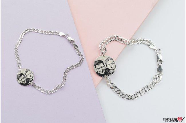 Bratari lant cuplu/ prietenie banut 22 &17 mm personalizate gravura foto Argint 925 rodiat (lant curbed XL & curbed)