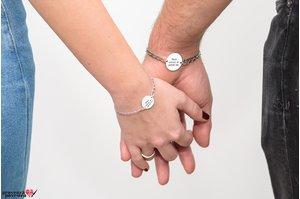 Bratari lant cuplu/ prietenie banut 22 & 17 mm personalizate gravura text Argint 925 rodiat (lant curbed XL & curbed)
