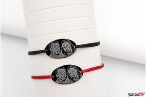 Bratari snur gros cuplu/ prietenie oval 25 mm personalizate gravura foto Argint 925 rodiat