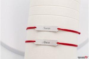 Bratari snur gros cuplu/ prietenie placuta 33 mm personalizate gravura text Argint 925 rodiat