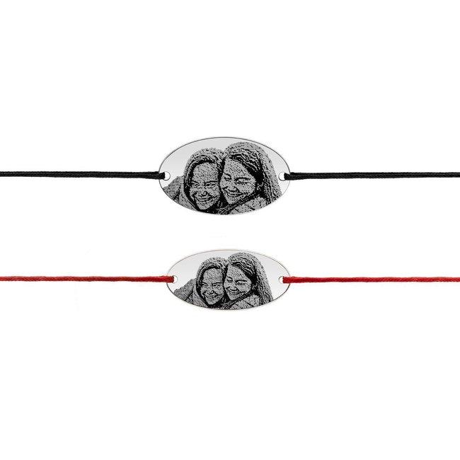 Bratari snur cuplu oval 25 mm & 22 mm personalizate gravura foto Argint 925 rodiat