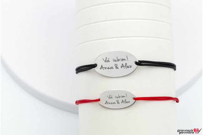 Bratari snur cuplu/ prietenie oval 25 mm/ 22 mm personalizate gravura text Argint 925 rodiat