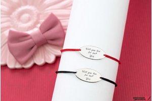 Bratari snur cuplu/ prietenie oval 22 mm personalizate gravura text Argint 925 rodiat