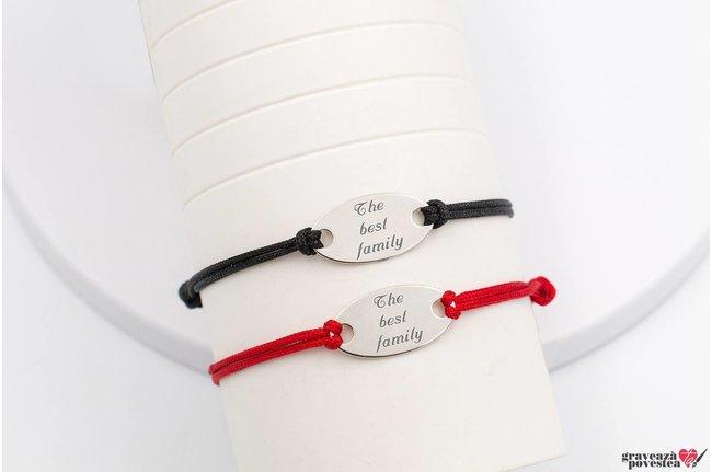 Bratari snur gros cuplu/ prietenie oval 22 mm personalizate gravura text Argint 925 rodiat