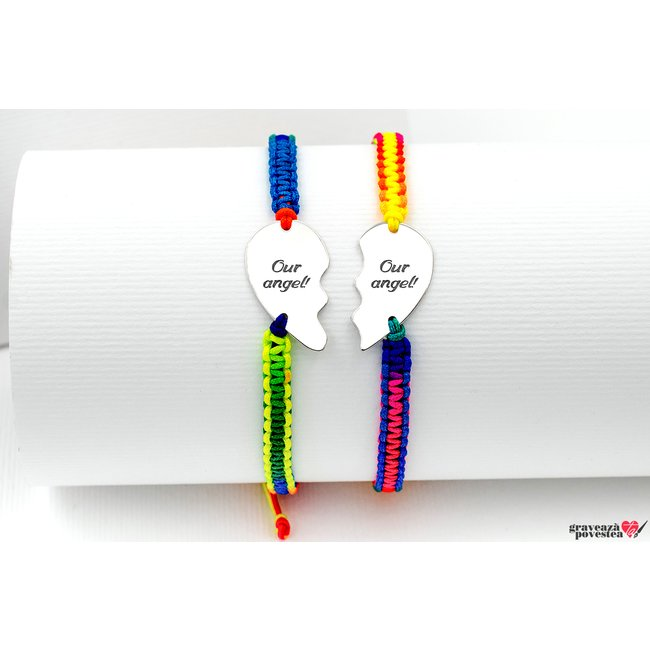 Bratari snur cuplu/ prietenie jumatati inima 21 mm personalizate gravura text Argint 925 rodiat