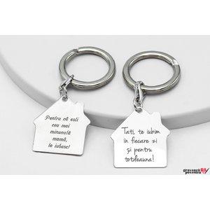 Brelocuri cuplu/ prietenie casa 30 mm personalizate gravura text Argint 925 rodiat