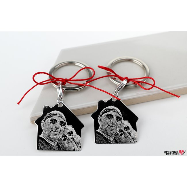 Brelocuri cuplu/ prietenie casa 30 mm personalizate gravura foto Argint 925 rodiat