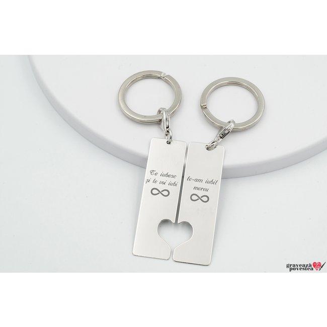 Brelocuri cuplu placute cu inimi decupate 50 mm personalizate gravura text Argint 925 rodiat