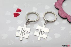 Brelocuri cuplu/ prietenie puzzle 35 mm personalizate gravura text Argint 925 rodiat