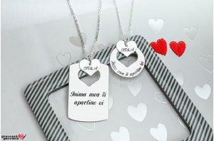 Coliere cuplu/ prietenie placuta si inima decupata personalizate gravura text Argint 925 rodiat