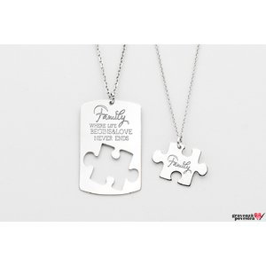 Coliere cuplu puzzle 38 mm personalizate gravura text Argint 925 rodiat