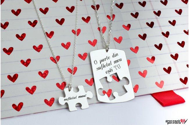 Coliere cuplu/ prietenie puzzle 38 mm personalizate gravura text Argint 925 rodiat