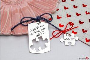 Pandantive cuplu puzzle 38 mm personalizate gravura text Argint 925 rodiat