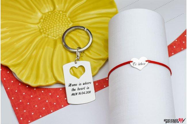 Breloc si bratara cuplu/ prietenie placuta & inima 38 mm personalizate gravura text Argint 925 rodiat