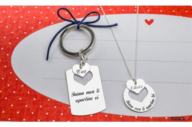 Colier si breloc cuplu/ prietenie placuta cu inima decupata personalizate gravura text Argint 925 rodiat