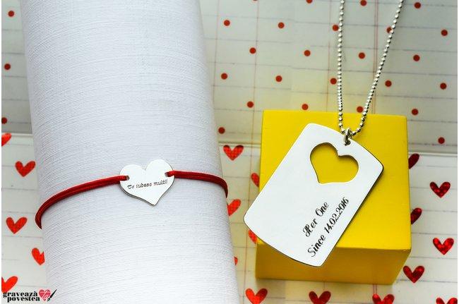 Colier si bratara cuplu/ prietenie placuta si inima 38 mm personalizate gravura text Argint 925 rodiat