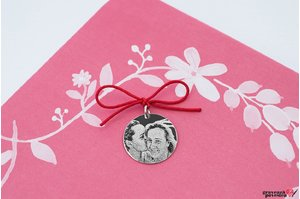 Pandantiv banut 14.5 mm personalizat gravura foto Argint 925 rodiat