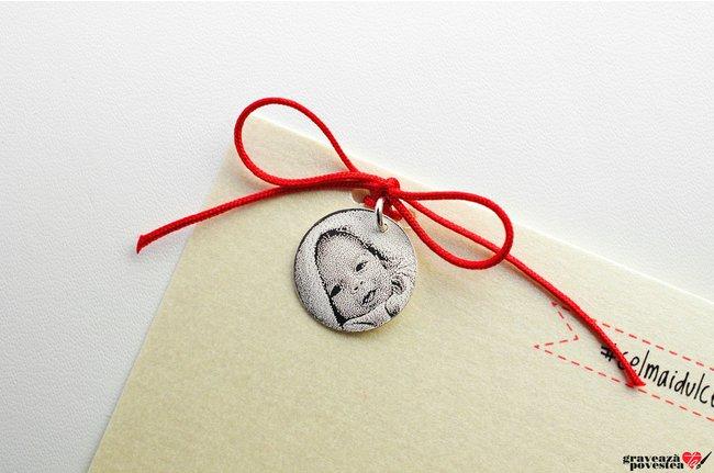 Pandantiv banut 17 mm personalizat gravura foto Argint 925 rodiat
