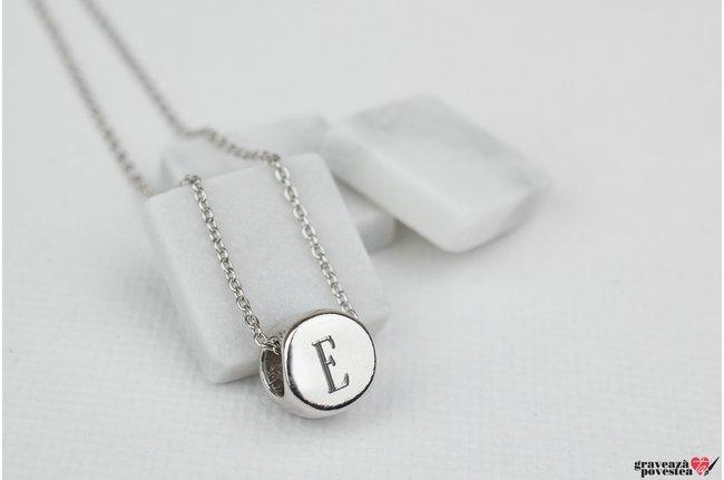 Pandantiv cerc 3D 7 mm personalizat gravura initiale Argint 925 rodiat