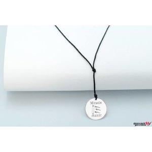 Colier snur banut 17mm personalizat gravura foto Argint 925 rodiat