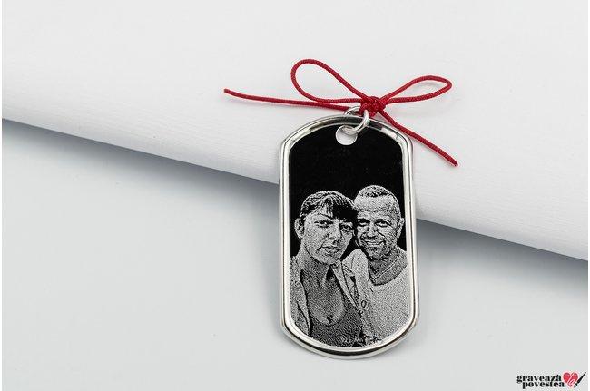 Pandantiv placuta clasica Army personalizata gravura foto Argint 925 rodiat