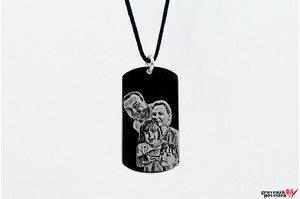 Pandantiv placuta Army 28 mm personzalizata gravura foto Argint 925 rodiat