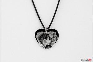Pandantiv inima 20 mm personalizat gravura foto Argint 925 rodiat