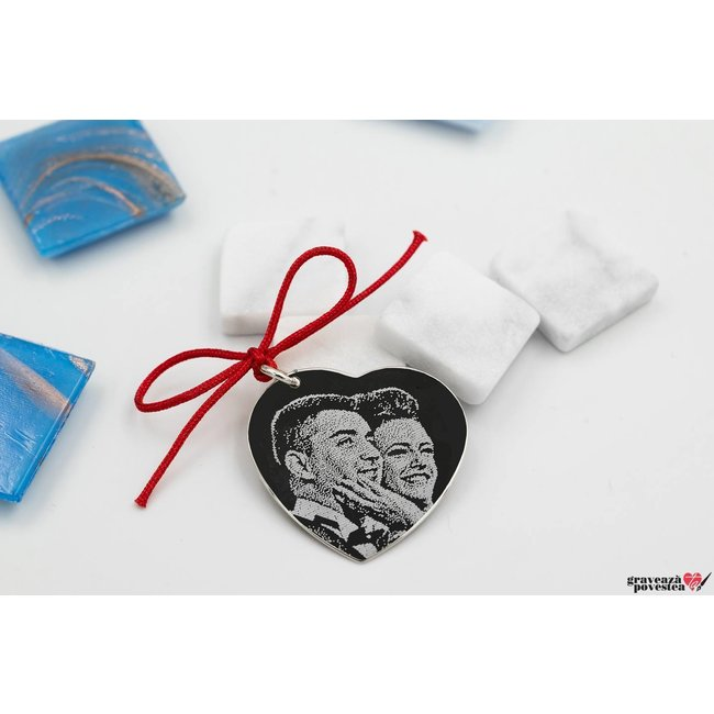 Pandantiv inima 24 mm personalizata gravura foto Argint 925 rodiat
