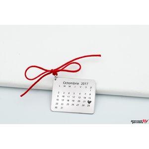 Pandantiv calendar 25 mm personalizat gravura text Argint 925 rodiat