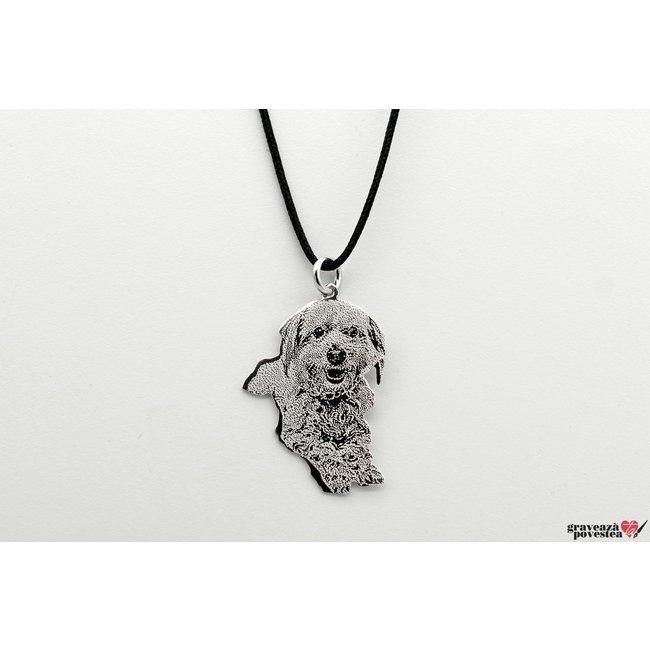 Pandantiv decupaj silueta/ animalut 30 mm/ 10 mm personalizat gravura text/ foto Argint 925 rodiat