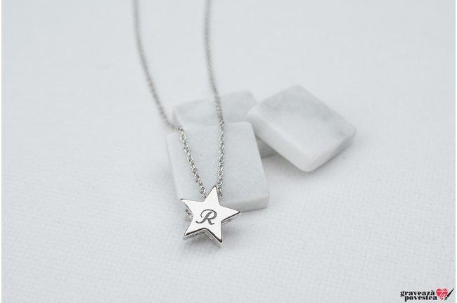 Pandantiv stea 3D 7 mm personalizat gravura initiale Argint 925 rodiat